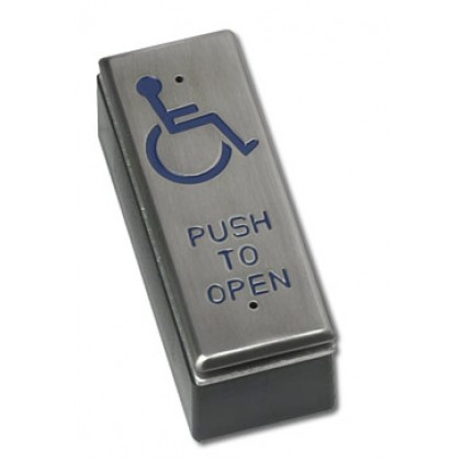 Videx SPB002ND - Surface stainless steel slim line push to exit with disabled logo
